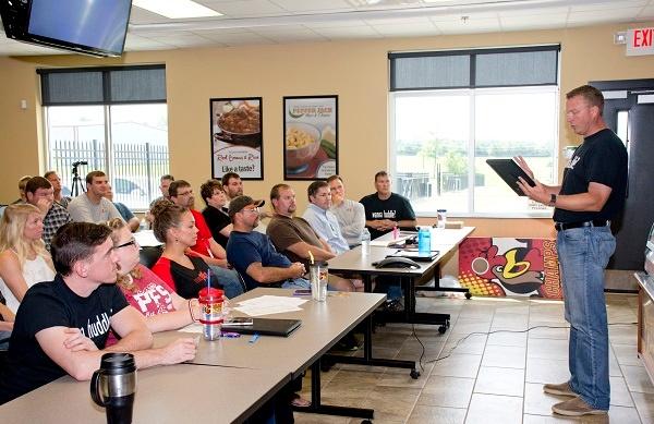 PFSbrands CFO Trevor Monnig giving a presentation